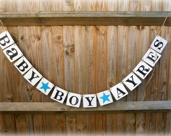 Baby BOY +NAME/Baby Shower Boy/baby  gift idea/baby shower decor/baby boy sign/baby boy banner/christening/naming ceremony