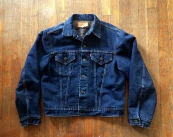 Vintage 1960s LEVIS Dark Indigo Denim Flannel Lined Work JEAN JACKET Size Large 42