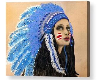 ACRYLIC PRINT* Native Goddess High Quality Acrylic Print, Original Drawing, Wall Art Decor