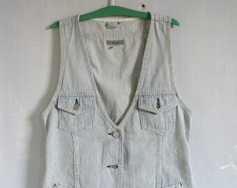 Vintage Light Blue Button Front Cotton Denim Vest Sleeveless Vest Denim Blue