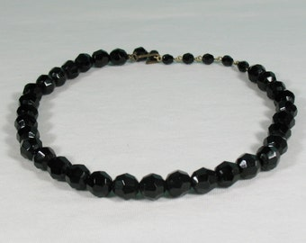 SALE - Faceted Black Glass Bead Choker - Vintage 1950s - SALE (was 8.50 usd)