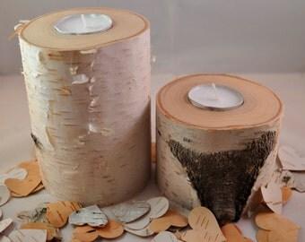 Natural White Birch Tea Light Candles - White Birch Decor - Home Decor - Birch Candles - Natural Candles