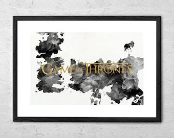 Game of Thrones - Game of Thrones Map - Game of Thrones Poster - Game of Thrones map Poster - Westeros Map - Map of Westeros - Watercolor