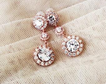 Rose Gold Bridal Earrings Rose Gold Wedding Earrings Wedding Jewelry Rose Gold Earrings Round Halo Earrings Bridal Jewellery