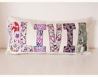 Personalised appliqué cushion (girls)