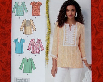 Simplicity Sewing Pattern 1461 Tunic Top Blouse Shirt Casual, Boho Chic, Women Sizes 10 12 14 16 18, DIY Summer Fall Festival Fashion, UNCUT