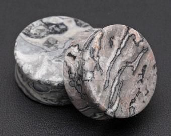 A Pair of Wavy Jasper Stone Double Flared Ear Gauge Plug