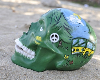 Handmade Ceramic Hippy Greeny Camping Bus Piercing Nature Sugar Skull
