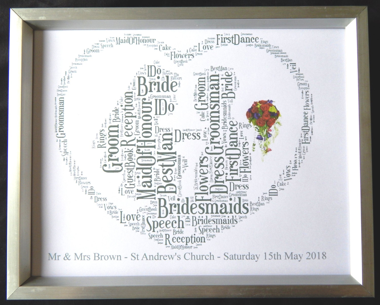 Personalised Bride & Groom Word Art Design B PDF ONLY