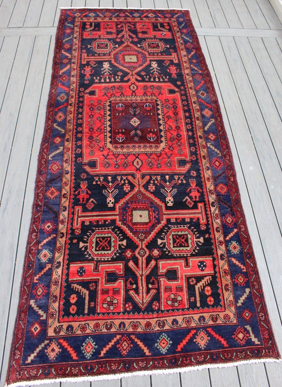 "4'3""x10'7"" Semi-antique Persian Hamadan Runner"