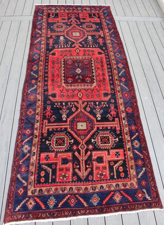 """4'3""""x10'7"""" Semi-antique Persian Hamadan Runner"""