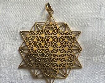 Tetrahedron ,Pendant, Brass, Sacred Geometry