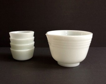 Mid Century Milk Glass Mixing Bowl with Spout & 4 Anchor Hocking Fire King Custard Cups, , White Milk Glass, Retro Kitchen