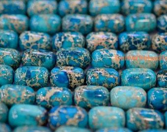"15.5"" 10x15mm High quality blue Sea Sediment Imperial Jasper barrel,semi precious stone,blue Emperor stone, blue Aqua Terra Jasper"