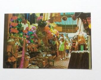 Vintage mexican postcard Tijuana shopping arcades 1960s