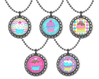 5 BIRTHDAY CUPCAKES 3D Bottle Cap Necklace Birthday Party Favors