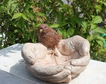 Rustic Bird in Hands, Bird Bath, Bird Feeder, Stone Garden Decoration, Made in Cornwall, Cornwall Stoneware, Gift Idea, Home and Garden