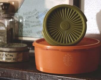 Vintage 1970s Servalier Tupperware Bowls in Harvest Orange & Green