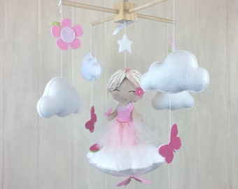 Baby mobile - ballerina mobile - butterfly mobile - flower mobile - girl mobile - ballerina - cloud mobile