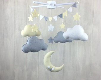 Baby mobile - cloud mobile - moon mobile - star mobile - grey and yellow decor - gender neutral nursery decor - stars and clouds