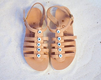 Aelia greek sandals/ gladietor sandals/ devil eyes/ natural/ white platform/ acrobat