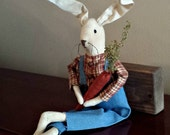 Jeremiah Rabbit  - Handmade Folk Art, Country Primitive Easter Spring Art Doll - OFG, FAAP, HAFAIR, Team HaHa