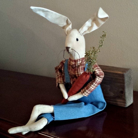 New Primitive Folk Art GIRL BUNNY With CHICK Tea Stained Easter Doll 18/""