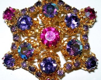 Large Made in Austria Star Multi-Color Rhinestone Brooch