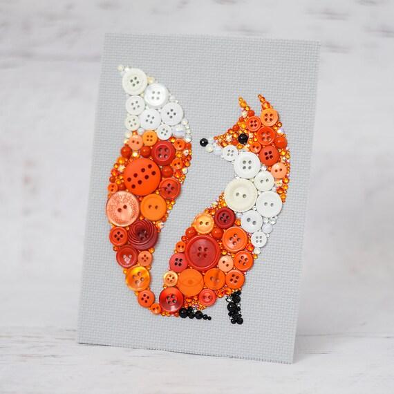 Custom Red Fox Button Art Fox Home Decor Bespoke Fox Art