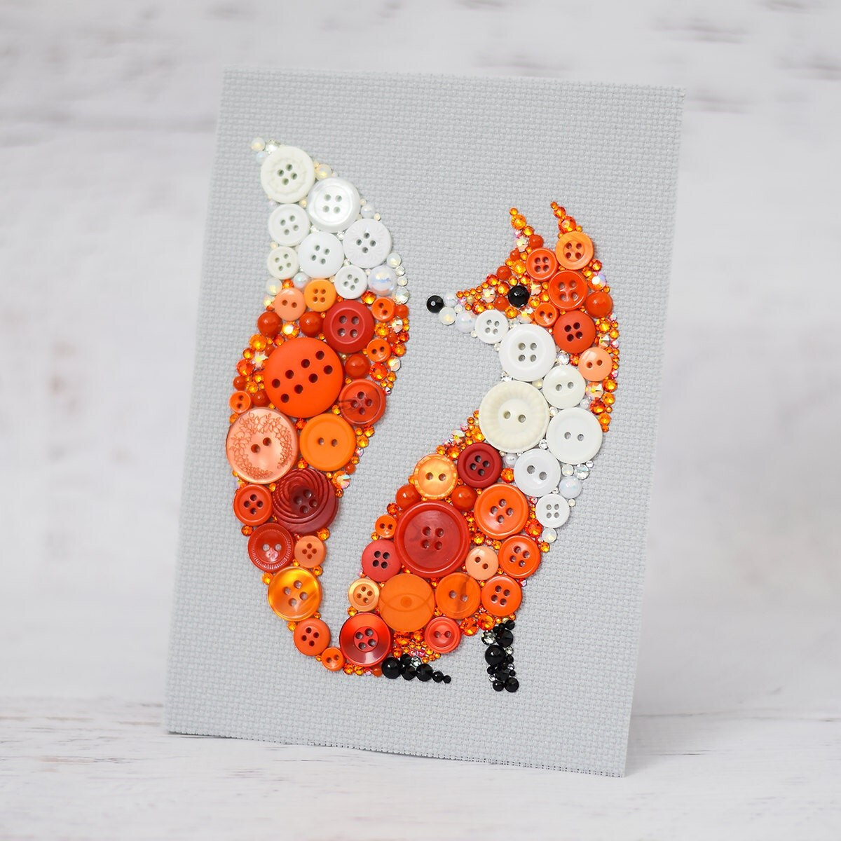 Custom Red Fox Button Art Fox Home Decor Bespoke Fox Art