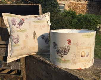 Farm Animal, French Hen Country Drum Lampshade