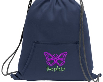 Sweatshirt material cinch bag with front pocket and embroidered spirit design - Butterfly - Multiple Colors - Camouflage - BG614