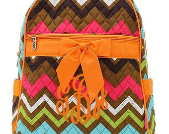 """Personalized Quilted Chevron Backpack with Bow - Medium 13"""" Multi-Colored with Orange accents - MGR2828-OR"""