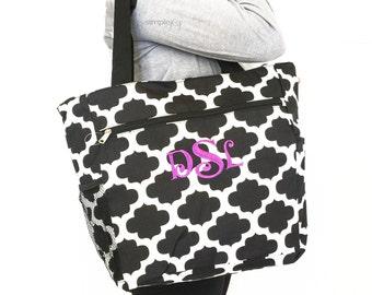 Quatrefoil Tote Bag, Quatrefoil Diaper Bag, Personalized Tote Bag, Monogrammed Beach Bag, Bridesmaids Gift,  Multipurpose Tote Bag, For Her