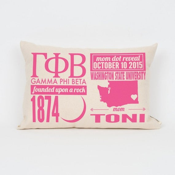 gamma phi beta custom sorority facts pillow greek letter pillow big little