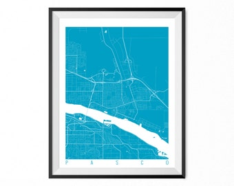 PASCO Map Art Print / Pasco City Poster / Pasco Wall Art / Washington/ Gift / Washington home decor