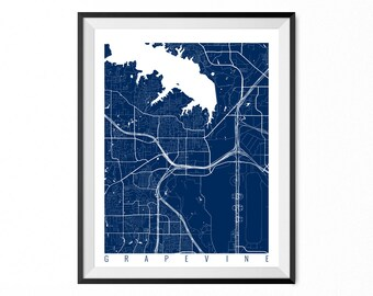 GRAPEVINE Map Art Print / Grapevine City Poster / Grapevine Wall Art / Texas/ Gift / Texas home decor