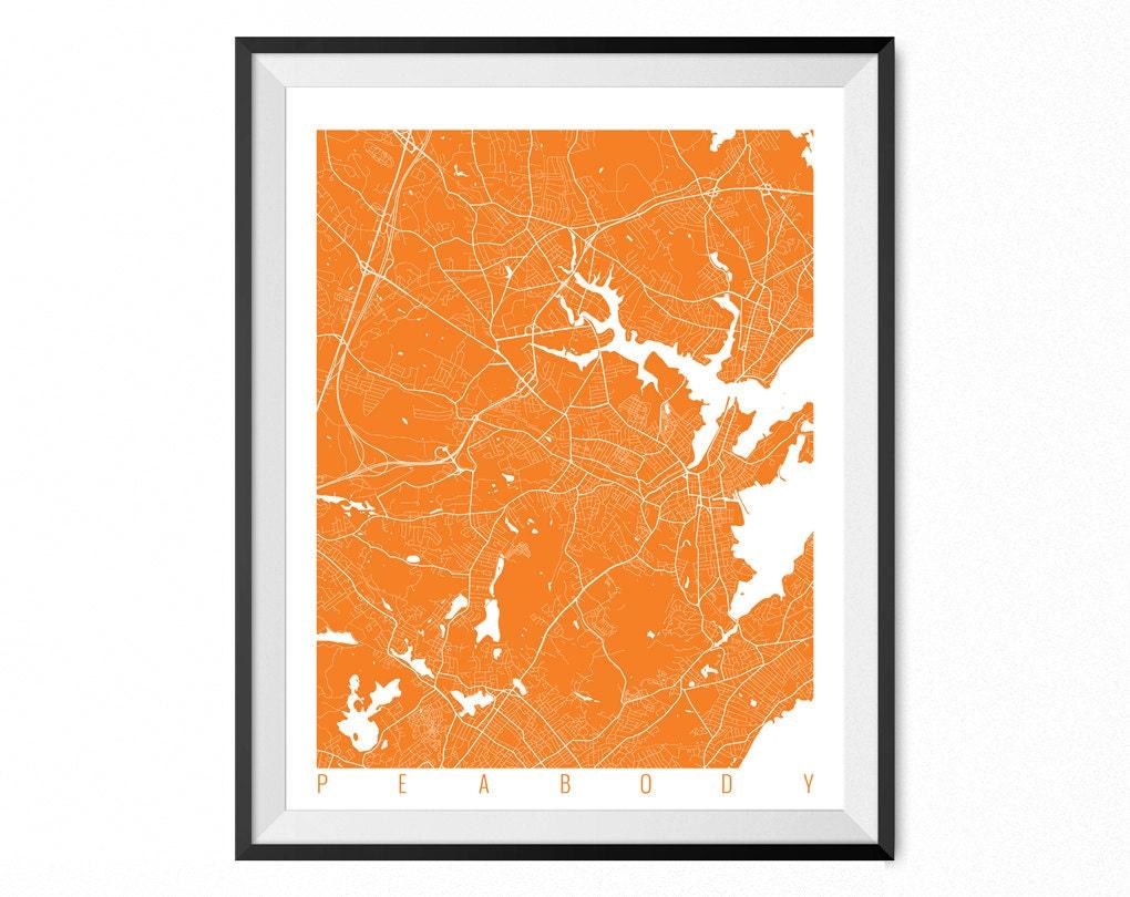 Peabody Map Art Print Peabody City Poster Peabody Wall Art