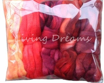 DISCOUNT PACK Hand Dyed Gradient BFL Wool Top Roving. Pre-Drafted Soft Lustrous Fiber for Spinning, Felting, Weaving. 5 Mini Skeins, Fire