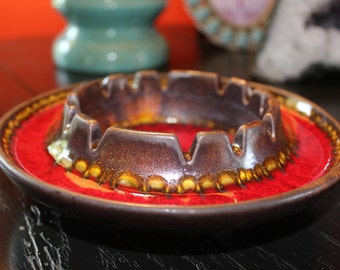 Haeger Pottery Ashtray, Haeger Red, Brown, Yellow Iridescent Ashtray for Your Mad Men Bar, #2009 Haeger, Haeger Bowl, Midcentury Ashtray
