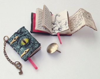 Miniature 'Shimmering Scales' Dragon Book (with printed pages, illustrations, and pull out map)