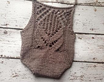 Taralynn Romper - Warm Grey  Romper - Knit Romper - Lace Romper - Knit Photo Prop - Gray Romper - Newborn Romper - Newborn Knit Romper