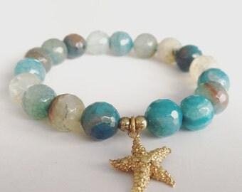 Blue Agate Starfish Bracelet