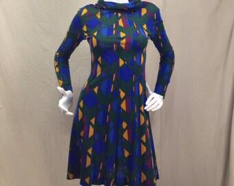 Vintage 70s Mod Dress // Long Sleeve Cowl Dress 1970s Size Small
