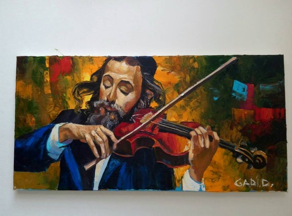 Jewish violinist oil painting made to order 30x60 cm jewish for Israeli artists oil paintings