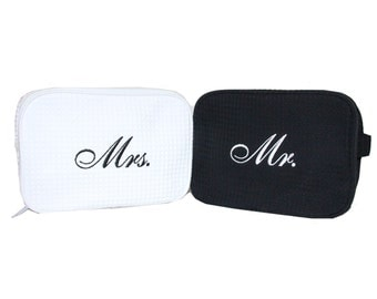 Mr. and Mrs. Waffle Cosmetic Bag Set, Bride & Groom Cosmetic Bag set, couples shower gift idea, engagement party gift idea for couples, gift