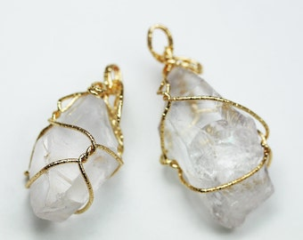 1pc 20-25*40-50mm Clear Quartz Nugget Mineral Gemstone ,Gold Plated Wire Wrapped Pendant- GEM0835