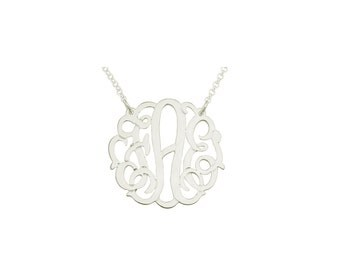 """Mono133w - White Rhodium Plated 1"""" Sterling Silver Curly Monogram Necklace"""