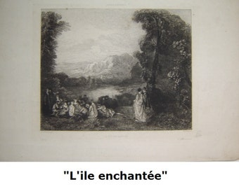 lithography. LITHOGRAPH after WATTEAU