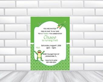 Frog Themed Invitation - ** DIGITAL DOWNLOAD ** or Printed
